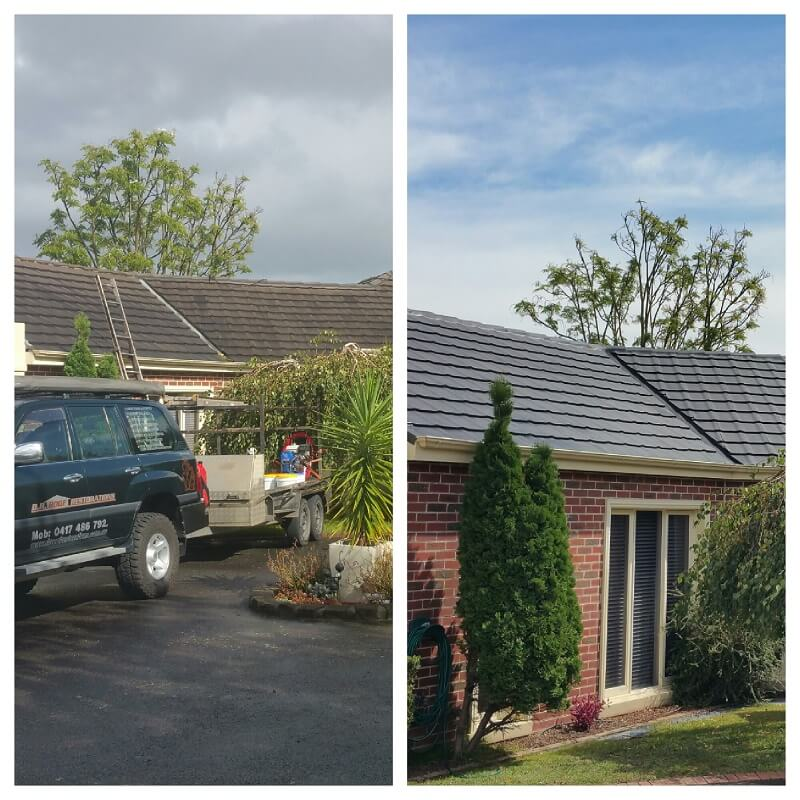 Before and after house roof